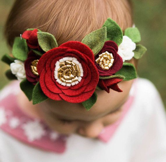 Felt flower Crown, Floral Birthday Crown, christmas flower crown, baby christmas headband, christmas felt flower crown, baby flower crown
