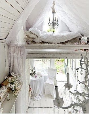 shabby chic cottage, the white makes it fairytale like! Would make an