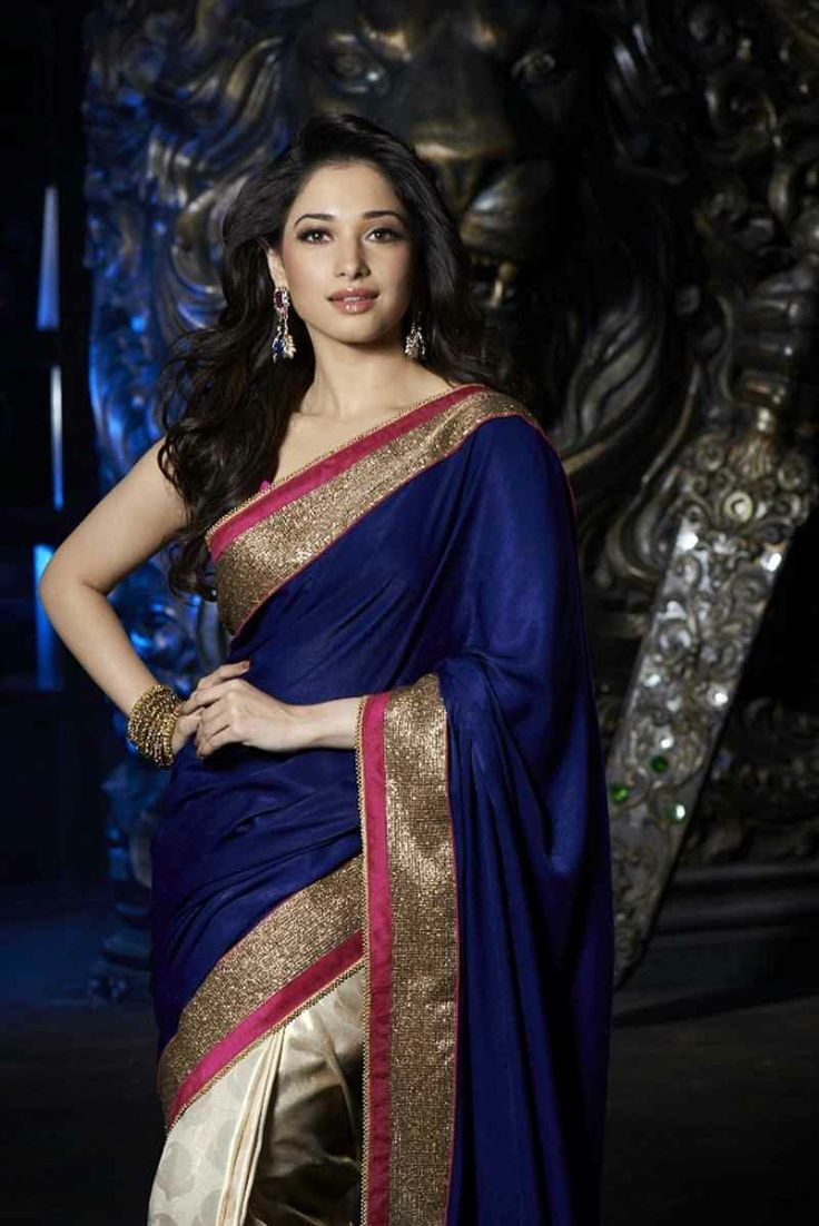 Tammana in a cream and blue half and half saree with gold and pink border - MinMit Clothing