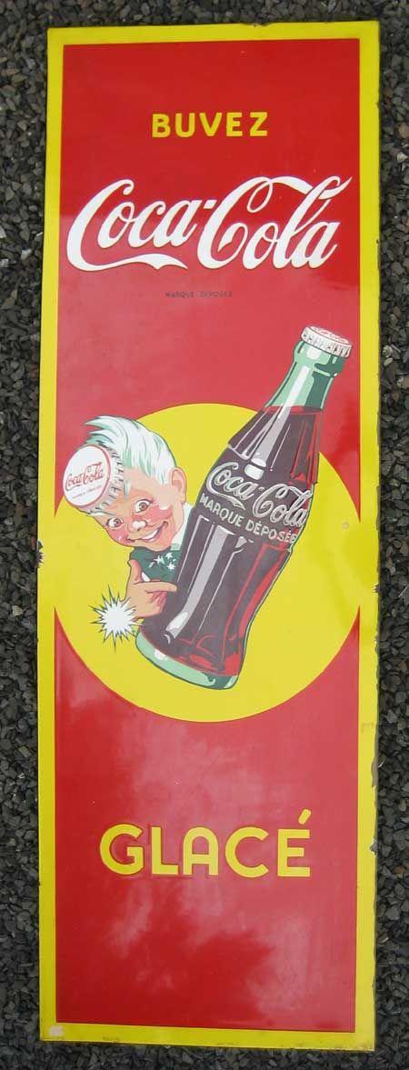 Coca Cola Boy Emailleschild, abgekantet, um 1950, ca 120 x 40 cm Verkauf: alte Werbung und Reklameobjekte Emailleschilder Blechschilder Emailschilder Werbeschilder