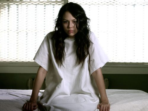 """#PLL Janel Parrish on putting on A's hoodie for the first time: """"the first time I put the hoodie on and I looked at myself in the mirror and it was like this is going to be really creepy and weird."""""""