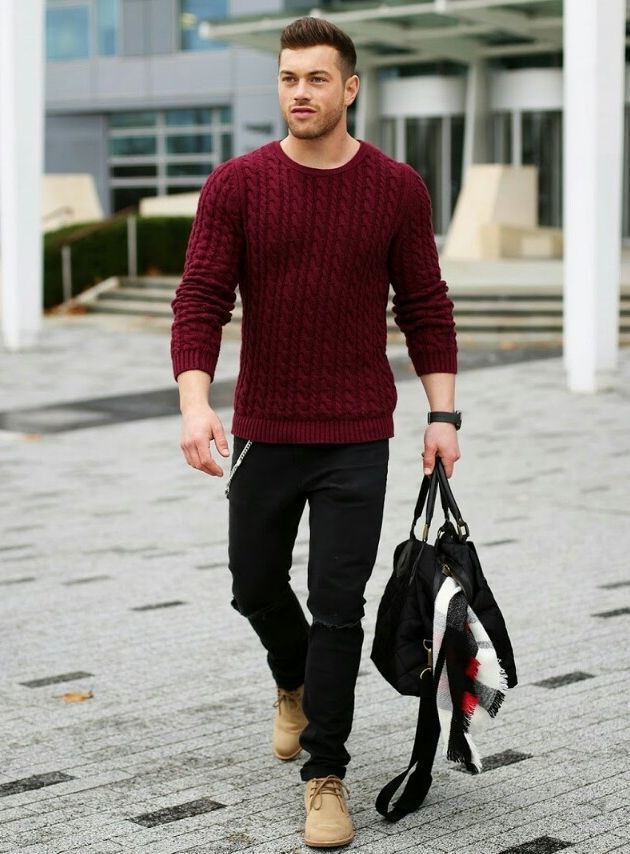 Shop this look on Lookastic:  http://lookastic.com/men/looks/cable-sweater-jeans-holdall-scarf-desert-boots/7463  — Burgundy Cable Sweater  — Black Ripped Jeans  — Black Quilted Canvas Holdall  — White Plaid Scarf  — Tan Suede Desert Boots