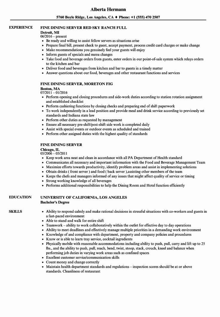 Resume Example for Server Fresh Fine Dining Server Resume