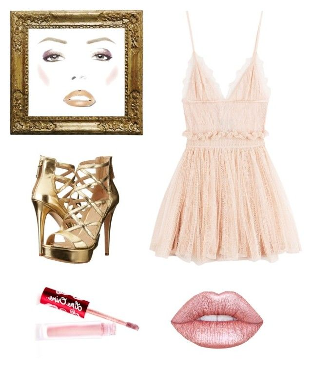 """Mini dress rosa/gold"" by malin1234 on Polyvore featuring Alexander McQueen, GUESS and Lime Crime"