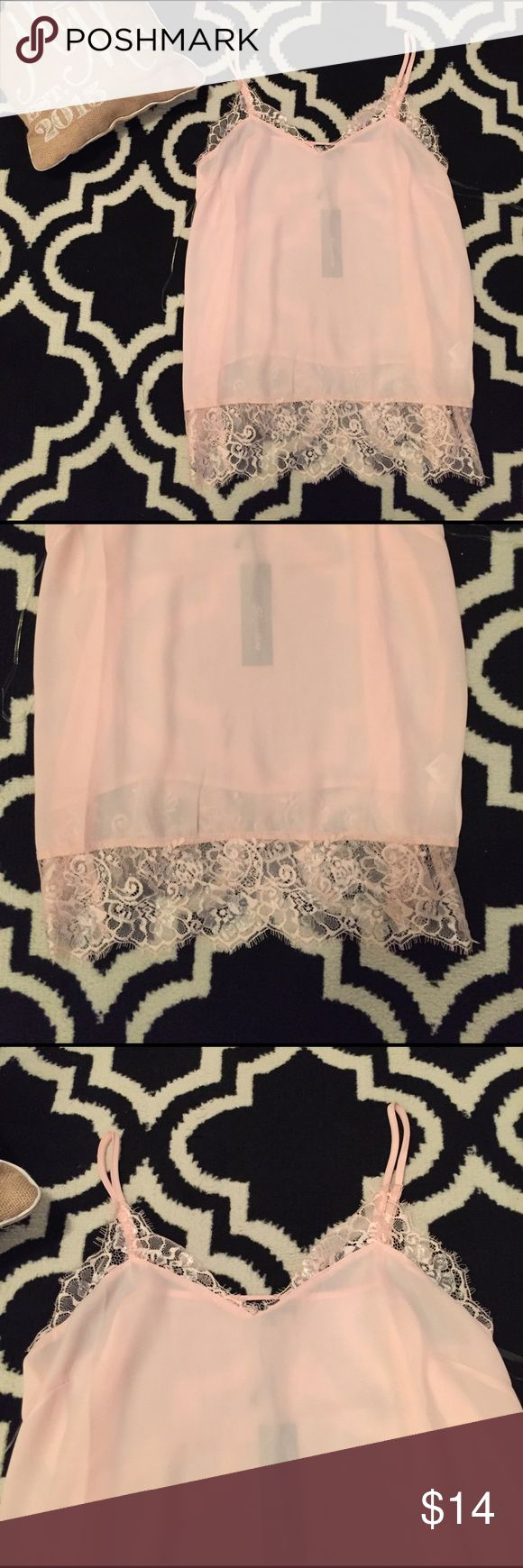 NEW 🎉 Shinestar Blush Lace Cami Top Size Medium New with tags! Size medium! Sheer blouse top. Perfect under a leather jacket or paired with white denim. shinestar Tops Camisoles
