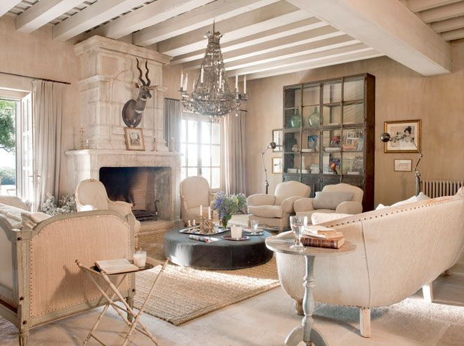 Rustic French Farmhouse   Love It All Except The Hanging Buck.