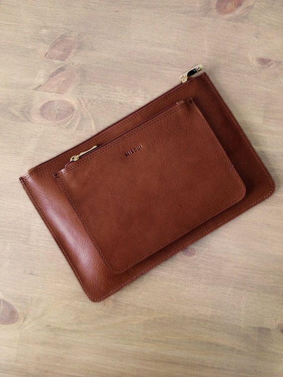 Set of 2 // Chestnut Brown Clutches, Leather purse, ipad mini