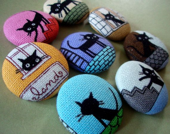 Black Cat Buttons - Limited Edition Fabric-Covered Buttons - French Alley Cat Fabric Buttons - Covered Buttons