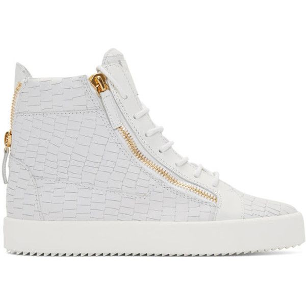 Giuseppe Zanotti White Croc-Embossed High-Top London Sneakers ($635) ❤ liked on Polyvore featuring men's fashion, men's shoes, men's sneakers, white, mens lace up shoes, mens high top shoes, giuseppe zanotti mens shoes, mens crocodile shoes and giuseppe zanotti mens sneakers