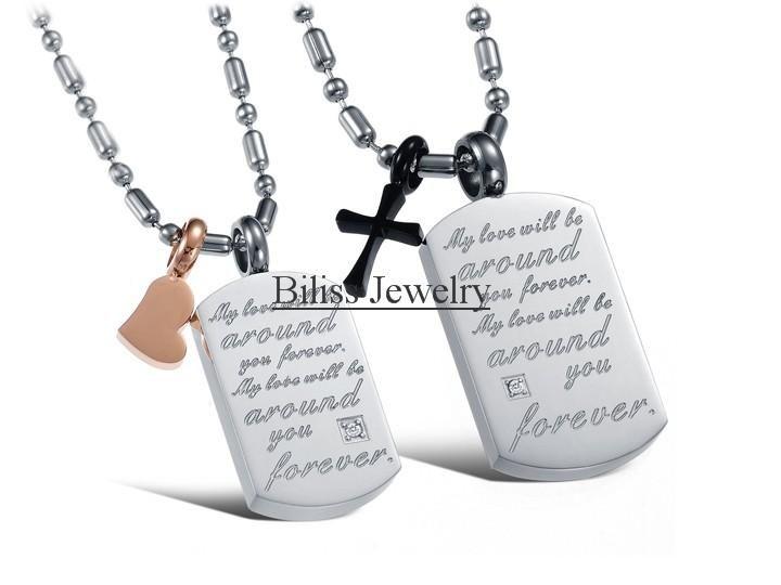 1 пара Мода Из Нержавеющей Стали и Ее Сердце и Его Крест Совпадающие Пары Кулон Ожерелье Подарки Для Любителей Женщин Мужчин