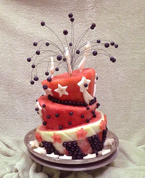 Spectacular red white and blue watermelon cake by Rose Flores