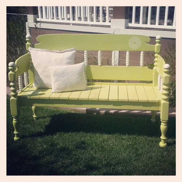 totally cute bench made from twin headboard and footboard-AND we have a bed like this we could use for it!