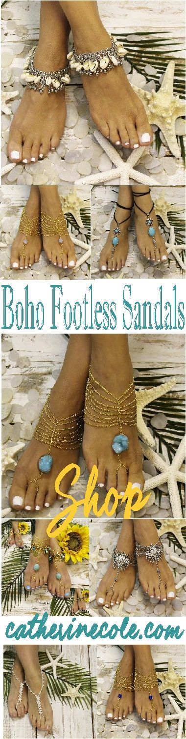 Bohemian barefoot sandals! Styles and prices for every style and budget. Footless sandals for beach and Bohemian outdoor weddings. Free USA shipping!