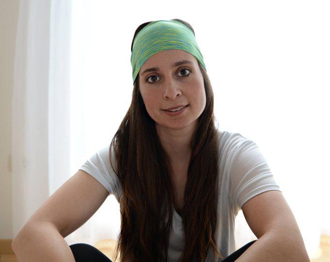 Green Stripe   FREE SHIPPING   Non-Slip   Yoga Headband   Workout Headband   Fitness Headband   Running Headband   Wide Headband  
