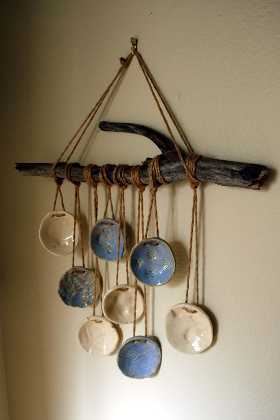 Driftwood Windchime. Shell and beach impressions blue and white, wall hanging