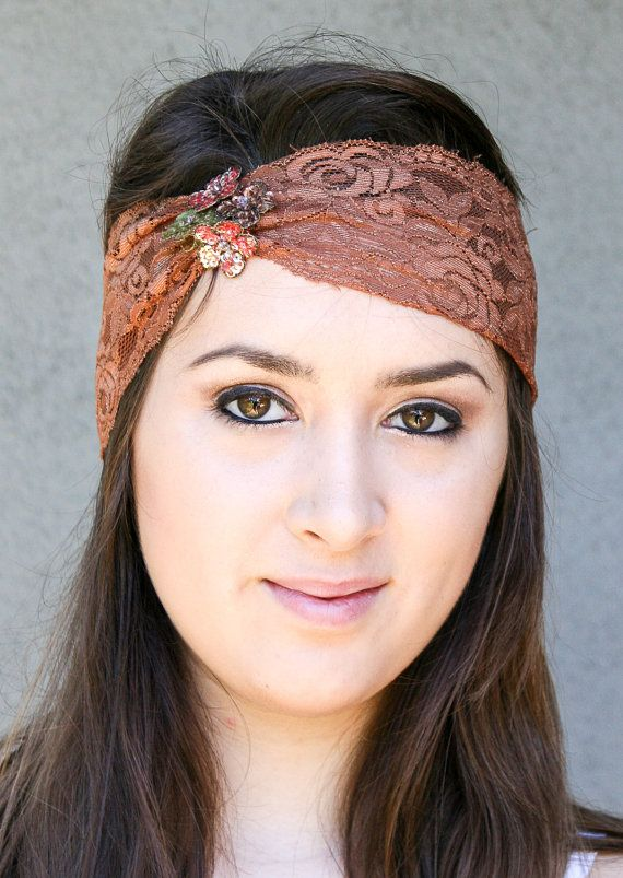 Rust Wide Stretchy Lace Headband with Sequin by BeSomethingNew, $23.00 (Hair down! This could also work with an updo!)