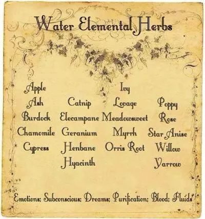 Elements Water:  #Water Elemental Herbs.