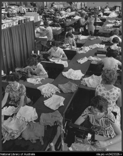 Women machinists sewing underwear at Lucas textiles factory, Ballarat, Victoria, 1963