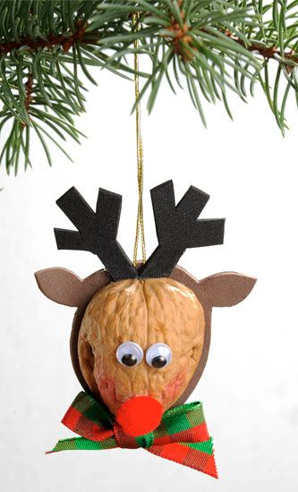 DIY Walnut Reindeer Ornament - Perfect project for the kids!