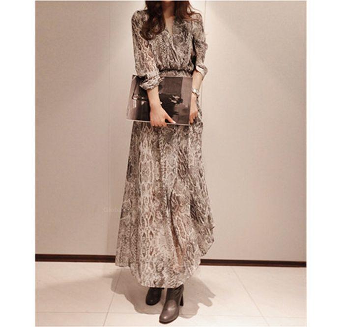 Graceful Snakeskin Print Chiffon Maxi Dress + Sundress Twinset For Women (COFFEE.L) China Wholesale - Sammy… | Maxi dress. Two piece long dress ...