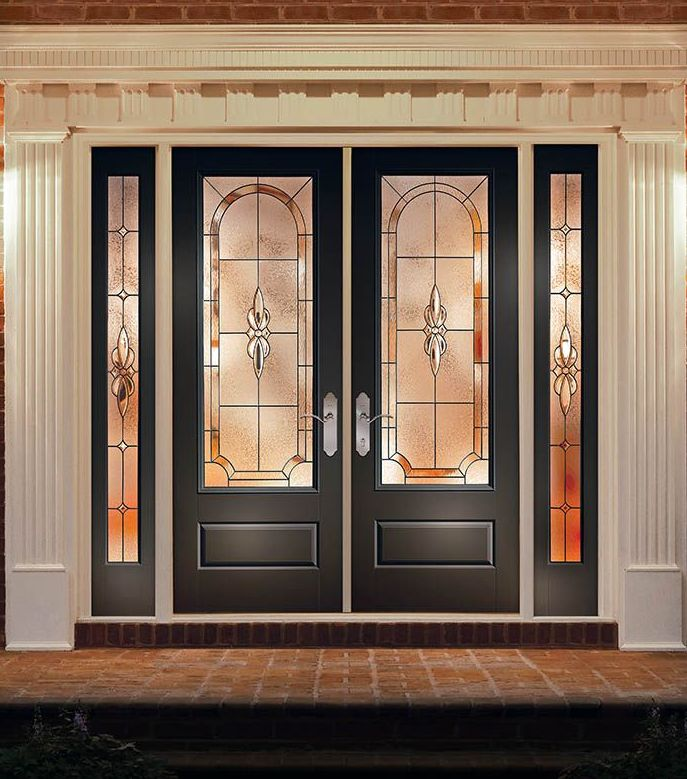 Classic Craft Canvas Collection Doors Painted Homestead Brown With  Cambridge Decorative Glass