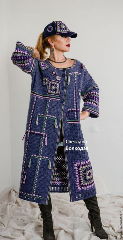 Купить Пальто вязаное авторское 'Звездное небо' - тёмно-синий, джинсовый, пальто…