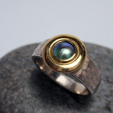 Silver and Gold Paua Ring – Unio Goldsmith