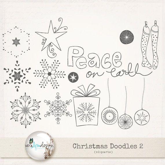Ähnliche Artikel wie ClipArts - Weihnachten-Doodles 2. Ideal für digital Scrapbooking, Card-Making und vieles mehr. auf Etsy