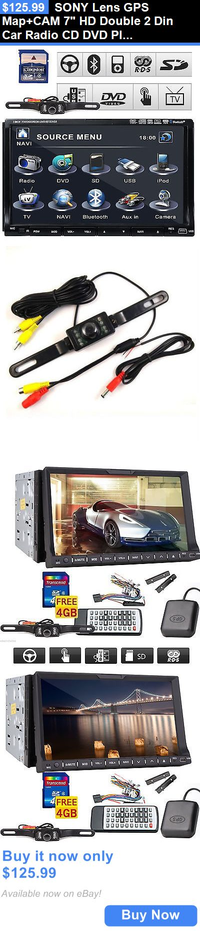 Vehicle Electronics And GPS: Sony Lens Gps Map+Cam 7 Hd Double 2 Din Car Radio Cd Dvd Player 3D Bluetooth Tv BUY IT NOW ONLY: $125.99