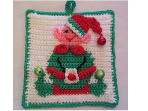 Original crochet pattern for Santa's Little Helper - Elf potholder - Instant Download $3.16