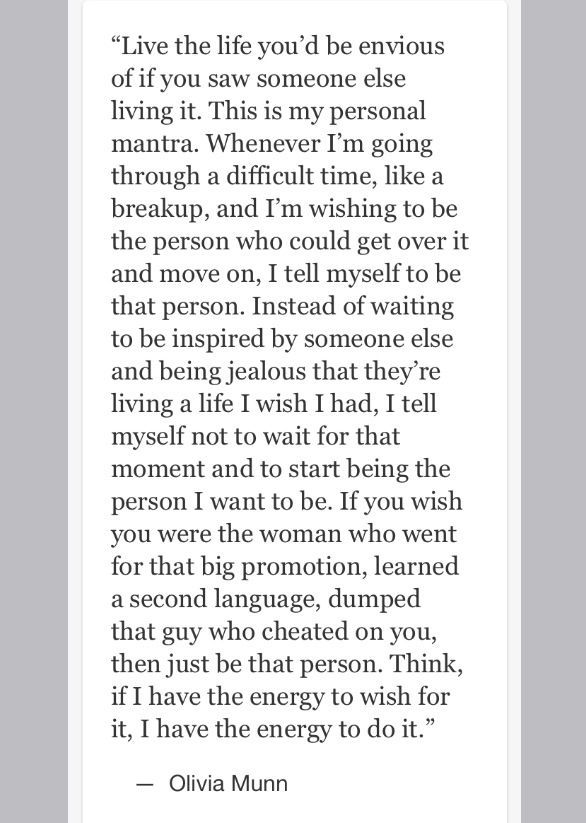 Inspiring Olivia Munn quote.. I'd like to think I'm not a jealous person but i find this inspiring!