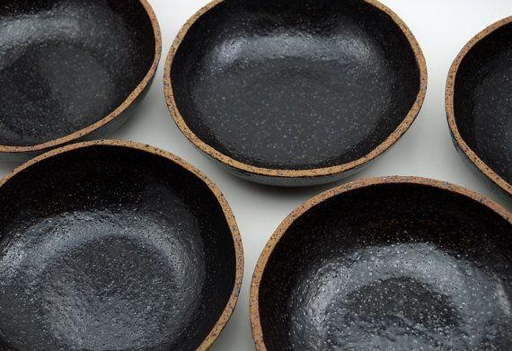 Set of 4 Rustic Bowls - Ceramic Bowls - Serving Bowls - Black Speckled Bowls - Stoneware Bowls - MADE TO ORDER