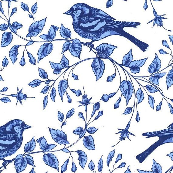 Bird Fabric - Birds on the Vine from the Blue & White Collection for Michael Miller PC 5992 Azure - 1/2 yard    White background with dark