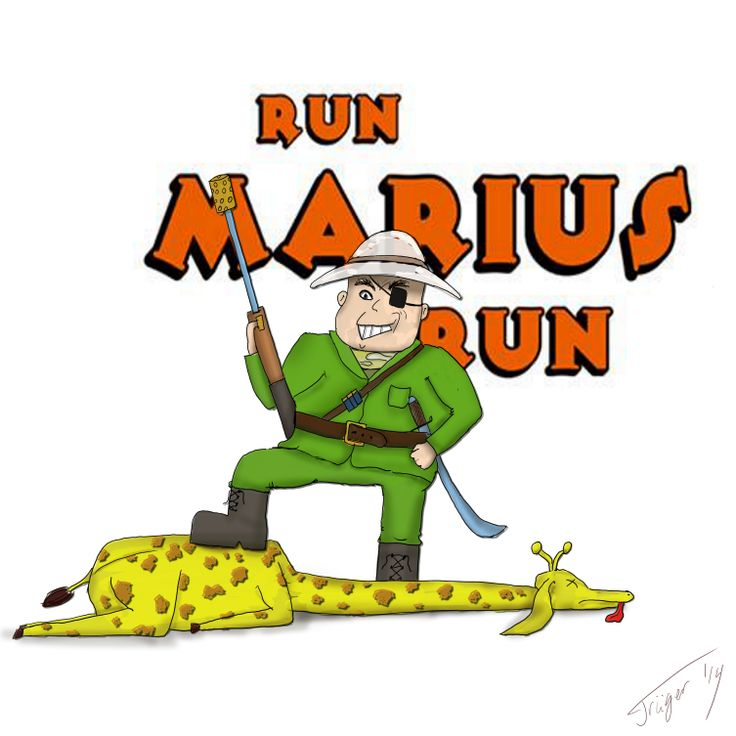 My friend made an android/ios game 'Run Marius Run'. I kind of promised to make some kind of fan art... also testing new art software Krita