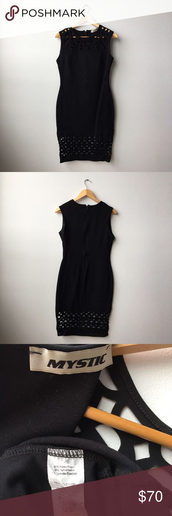 """ModCloth Body Con LBD Women's L Laser Cut Lace ModCloth """"Grand Gallery Dress in black"""" size L. 39"""" long from shoulder to bottom hem. Bottom Lace measures about 7"""". 65% rayon, 30% nylon, 5% spandex. Worn only once. Like new except for text on tag is partially rubbed off. Modcloth Dresses Midi"""