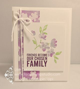 The new Irresistibly Yours designer paper is free during Sale-A-Bration.  This gorgeous white on white embossed paper allows you to change the color, if desired. Stampin' Up!, Painted Blooms, Painted Petals, Occasions 2015, technique, card, paper, scrapbook, craft, rubber, stamps, www.lisasstampstudio.com