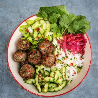 Bun Cha: Vietnamese rice noodle salad with grilled pork meatballs – quick and easy to assemble and packed with flavour.