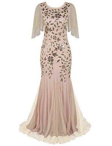 PrettyGuide Women s Evening Dress 1920s Sequin Deco Merma... Vestidos De  Noite Com Mangas c2e129e63663