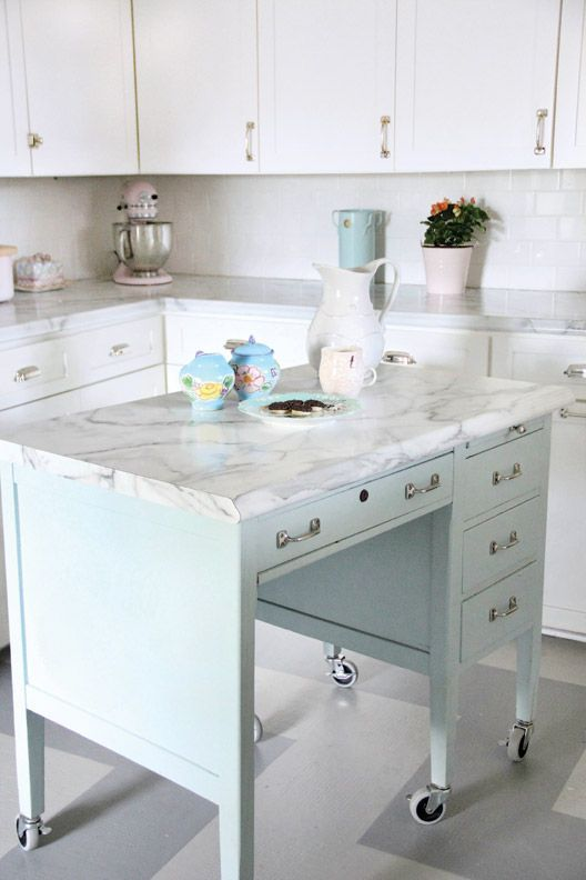 Turn A Desk Into Kitchen Island Buffet TableBuffet TablesMarble DeskMarble TopRepurposed