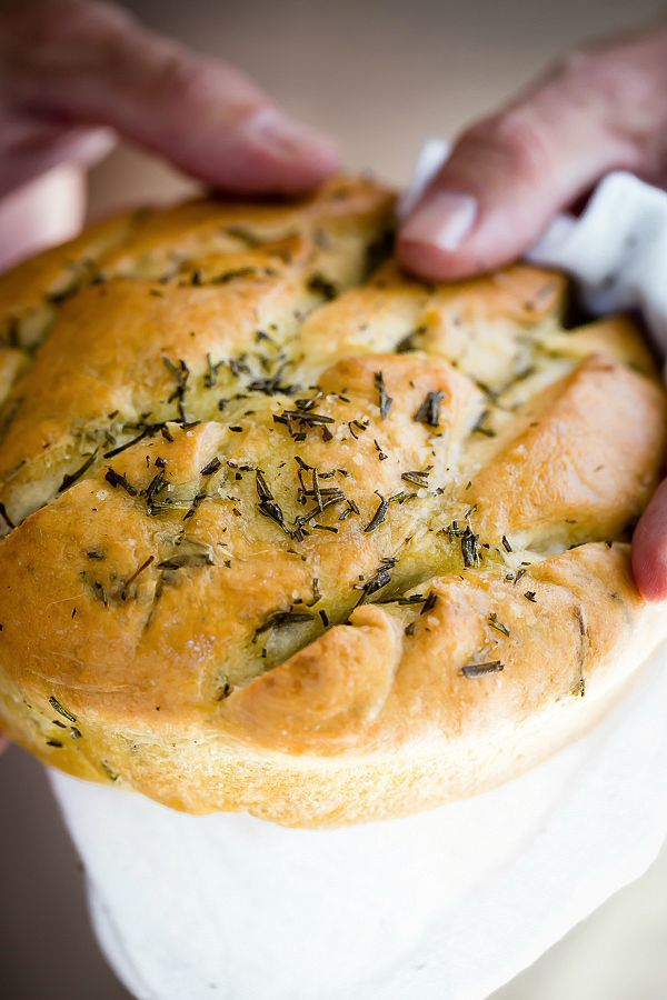 Soft and chewy focaccia bread with rosemary