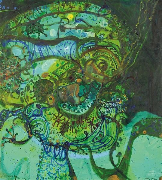 John Olsen, Self Portrait by the Sea  Oil on canvas, 152 x 137 cm