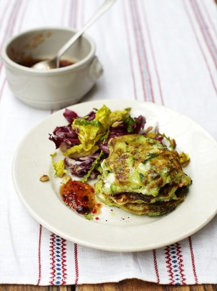 Enjoy Jamie's recipe for Courgette Fritters, flavoured with feta and herbs, great for a picnic or lunchbox or serve them hot for a quick and easy dinner.