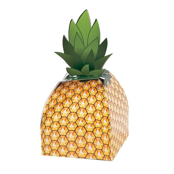 Send your guests home with your favorite treats in these adorable paper pineapple favor boxes. Each box is golden yellow and green, designed to look like a pine