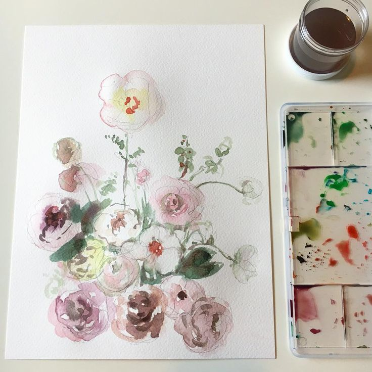 Experimenting with some more muted wintery florals today to match the dreary weather 🌬 (inspired by @thisisfromtheground ) #watercolor #watercolorpainting #oxcoco #thatssooxcoco #drawmore #adrawingaday #paintmore #abstractflowers #floralpainting #impressionist #urbangarden #wip #sketchbook #crayola #bouquet