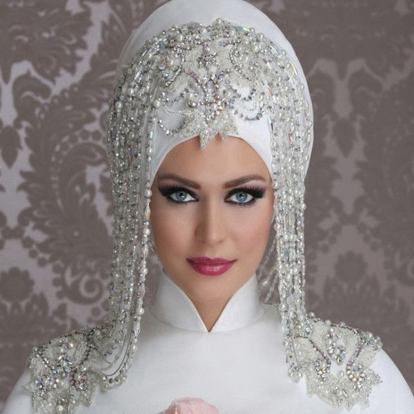 White Beading Muslim Bridal Veils Hijad Bride Veil 2015 Muslim Veiling Accessorie Middle East Wedding Dresses Muslim Wedding Veil