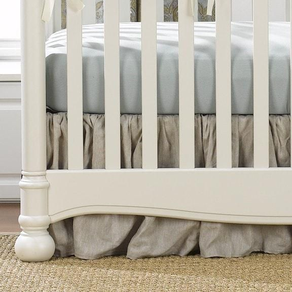 """Soft and Sweet Gender Neutral Baby Bedding - Flax Linen Crib Skirt (Gathered) 16"""" Drop - Made in the USA #Luxury4littles"""
