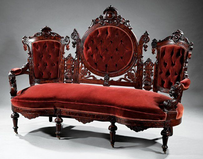 American Renaissance Carved And Burl Walnut Parlor Suite, C. To John  Jelliff, Newark, New Jersey