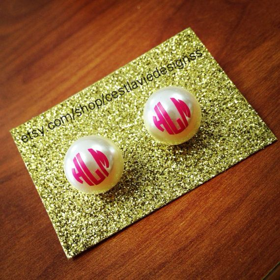 These earrings are approximately a half an inch in diameter Please leave your monogram in first LAST middle order