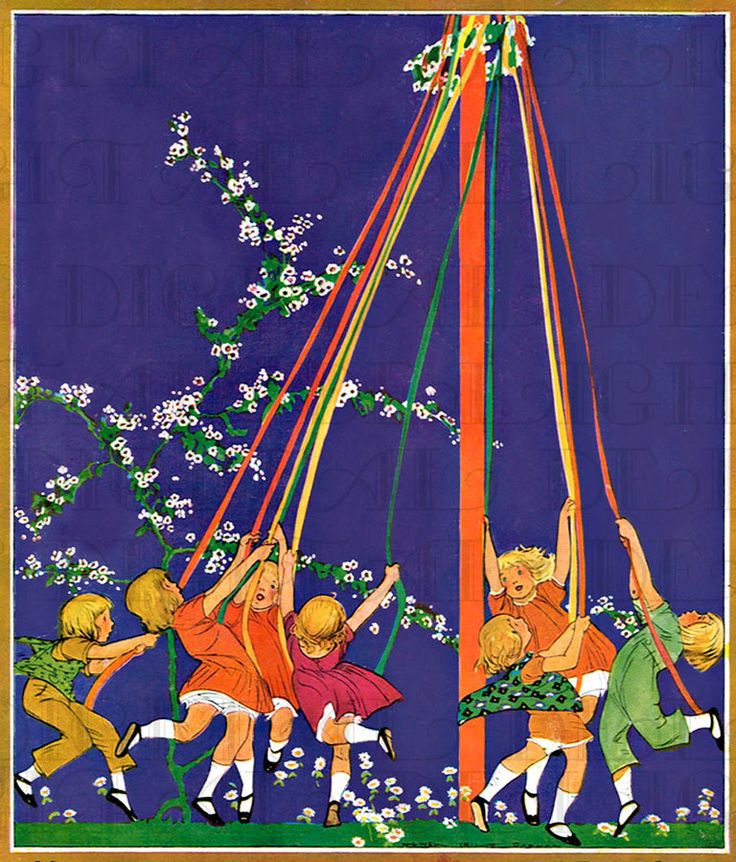 colorful children around the may pole may day vintage illustration digital download vintage may day print jessie wilcox smith