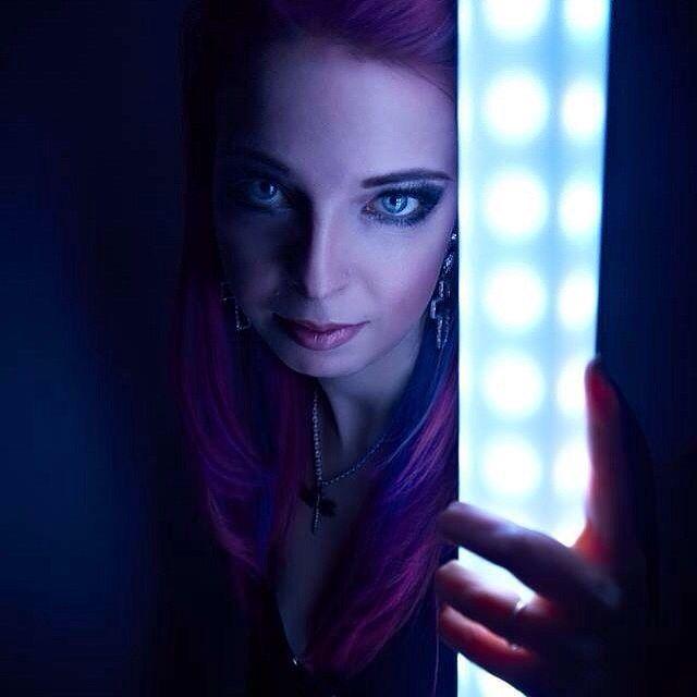 Markéta Morávková  #aliatempora #singer #photoshoot #photocatalogue #dark #lightingmicstand #lightsaber #custommicstand #led #micstand #lighting #lights #saber #blue #pink #rock #metal #femalefronted